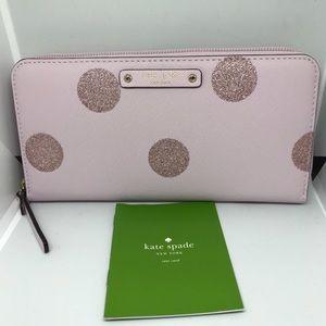 ♠️Kate Spade Haven Lane Pink Glitter Dot Zip Aroun